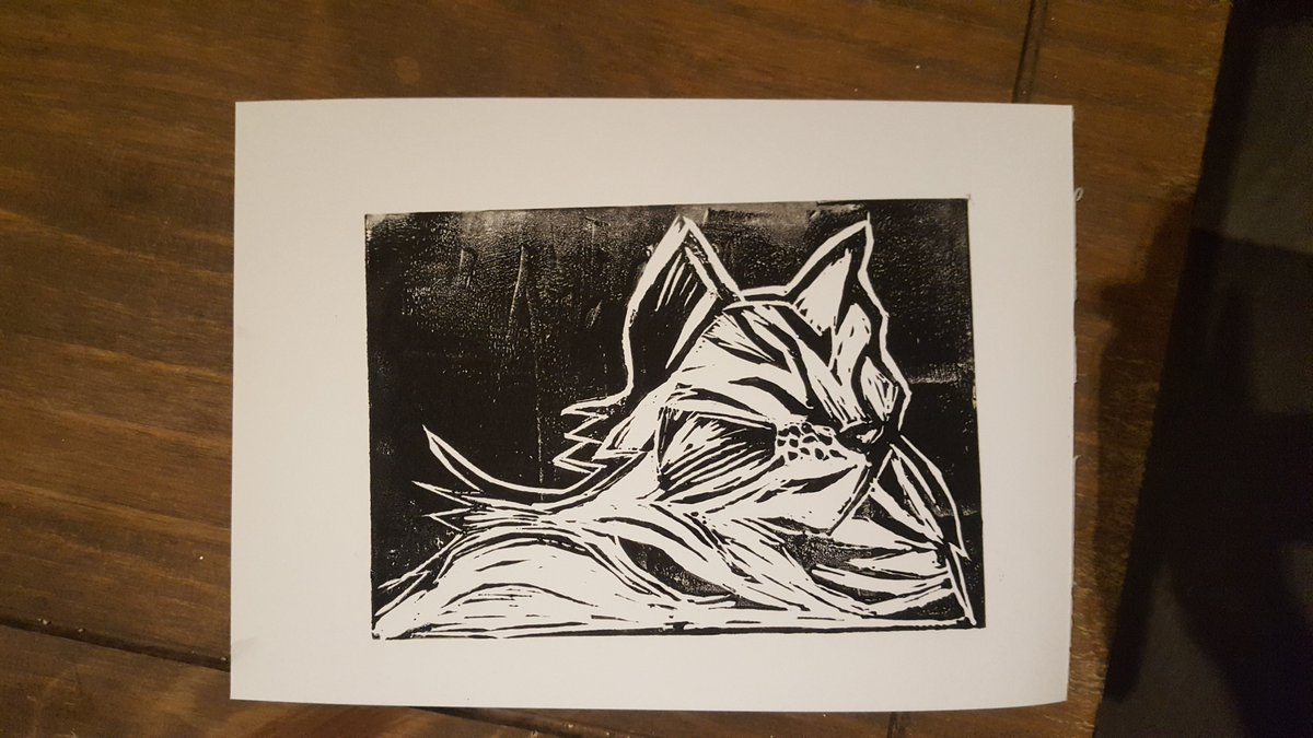 Have officially hit 'doing linocuts of my cat' stage of lockdown