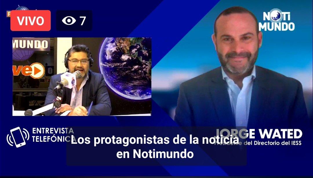 [AHORA] 💻 @JorgeWated, presidente del Consejo Directivo del IESS, en entrevista vía telefónica, con @fmmundo, informa a la ciudadanía, sobre los retos de institución, frente a la emergencia.  [En Vivo] ➡️ https://t.co/NCZsFv4OtT  #ActivadosPorLaSalud #NuevoComienzoIESS https://t.co/WmUcwEgHaF