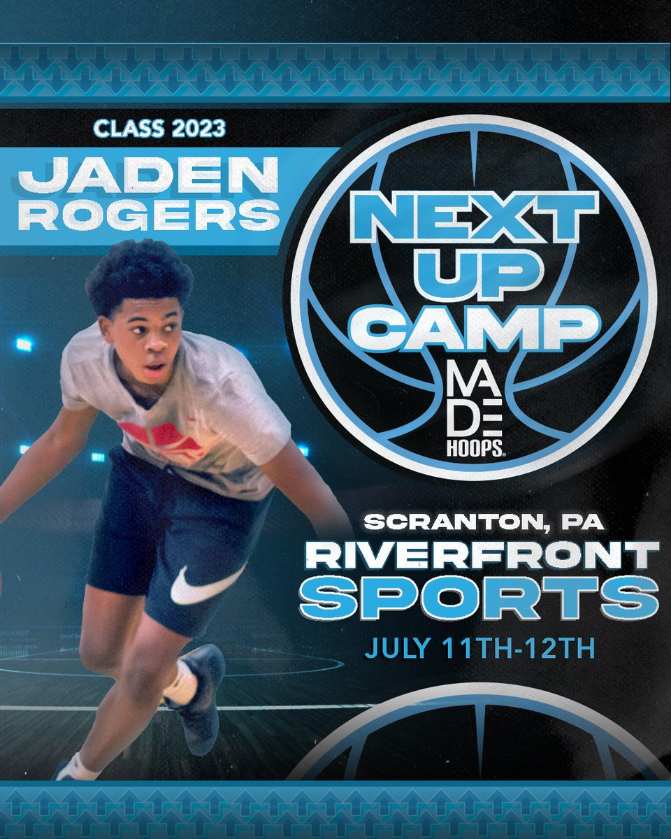 2023 Jaden Rogers is LOCKED IN 🔐 and ready to show out at Next Up Camp! 💪  Are YOU Next Up? It's time to #CreateYourName.  🗓: July 11th-12th, 18th-19th, & 25th-26th ⛹️‍: Classes 2021-2026 🏟: Riverfront Sports 📍: Scranton, PA 🎥: Live Streamed  🎟: https://t.co/Pwy8j4Nvqa https://t.co/8yrFYGgIDu