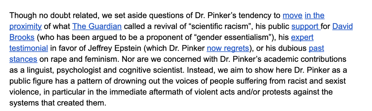 """They're coming for Steven Pinker for his """"public support for David Brooks,"""" not condemning Bernie Goetz enough, denying an incel shooting as evidence of the patriarchy, and """"co-opting"""" the work of a black scholar, which I think means citing him. https://t.co/7wb3JqJkb1 https://t.co/9mYpkyM2DG"""