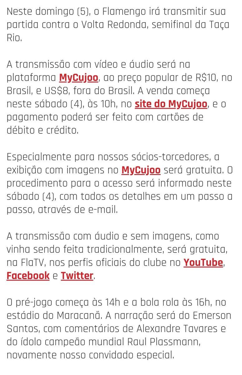 O Flamengo divulgou os detalhes da parceria com a MyCujoo na transmissão da partida contra o Volta Redonda. #ODia