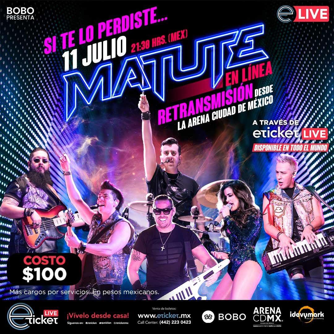 ¡Familia ochentera, si se perdieron o quieren volver a vivir nuestro concierto #MatuteEnLínea desde la @ArenaCdMexico, tendremos la RETRANSMISIÓN el próximo sábado 11 de Julio a las 21:30 HRS! 🔥🔥🔥 ¡Boletos ya disponibles a precio único en @eticket! https://t.co/jLJvH5NtZS https://t.co/QV1DnKQdIA