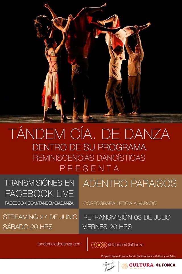 #TANDEMCIADEDANZA I #REMINISCENCIASDANCISTICAS I #FacebookLive   Tándem Cia. De Danza  Presenta:  Estudios no Identificados   Adentro Paraísos   Retransmisión viernes 3 de Julio 20:00 hrs.  #DelForoATuCasa  #TandemTeAcompaña  #DanzaQueUne  #UnidosConDanzapic.twitter.com/wP8RGa6juC