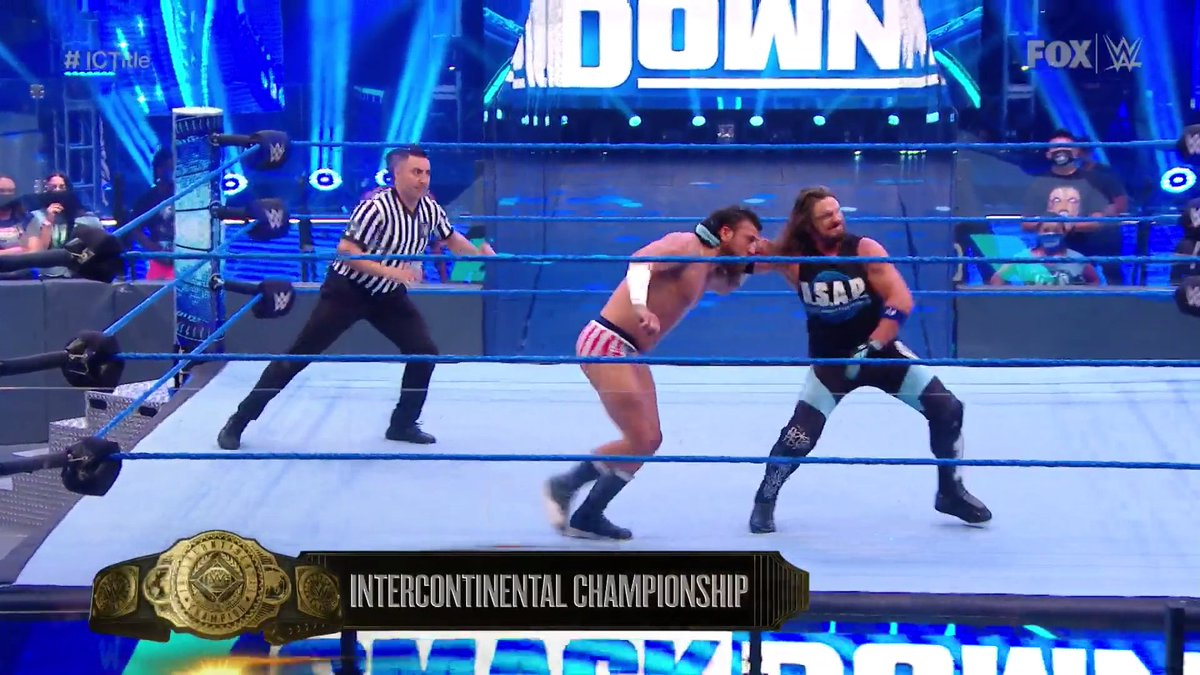 The #ICTitle is ON THE LINE right now on #SmackDown!  @AJStylesOrg @DrewGulak https://t.co/HYpkmmN7xW