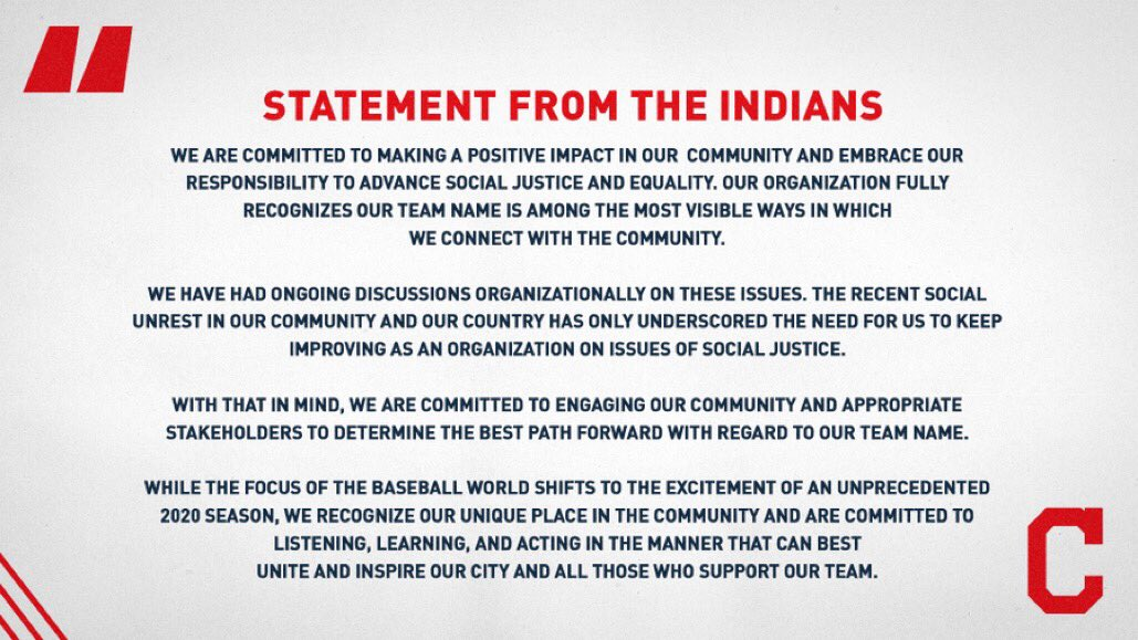Here's the statement from the Indians.
