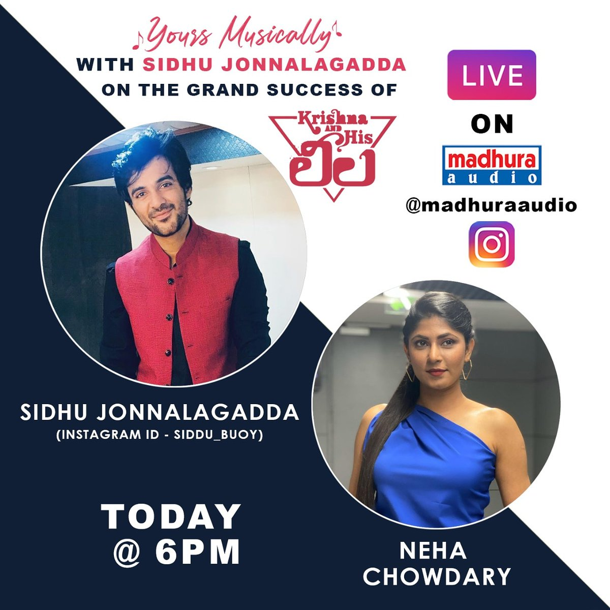 Wooahh Look Here @Siddu_buoy Is Joining With Us In Live Today At 6 PM With Anchor @thenehachowdary Stay Tuned To @MadhuraAudio Insta Live  #YoursMusically #TeluguMusic #telugumusically #TeluguIndependentMusic #originalmusic #telugumusic #telugumusicalworld #madhuraaudiopic.twitter.com/ljeG0dsL61