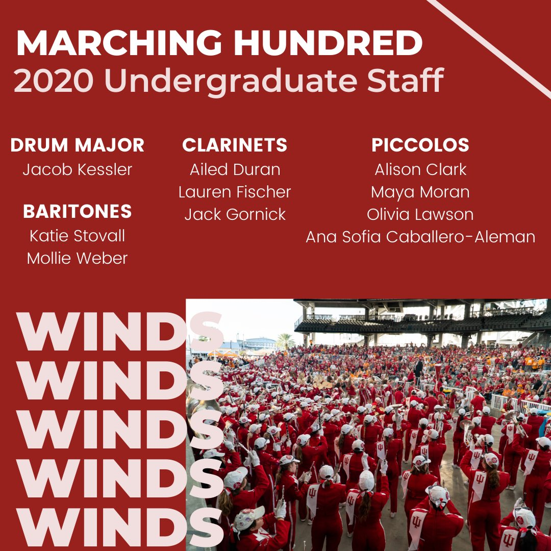 Meet your 2020 Undergraduate Staff! These dedicated students were selected to lead their sections and the band this upcoming season. We cannot wait to see all they do for the Marching Hundred! #GoIU ⚪️🔴 https://t.co/O9iivB4MW5