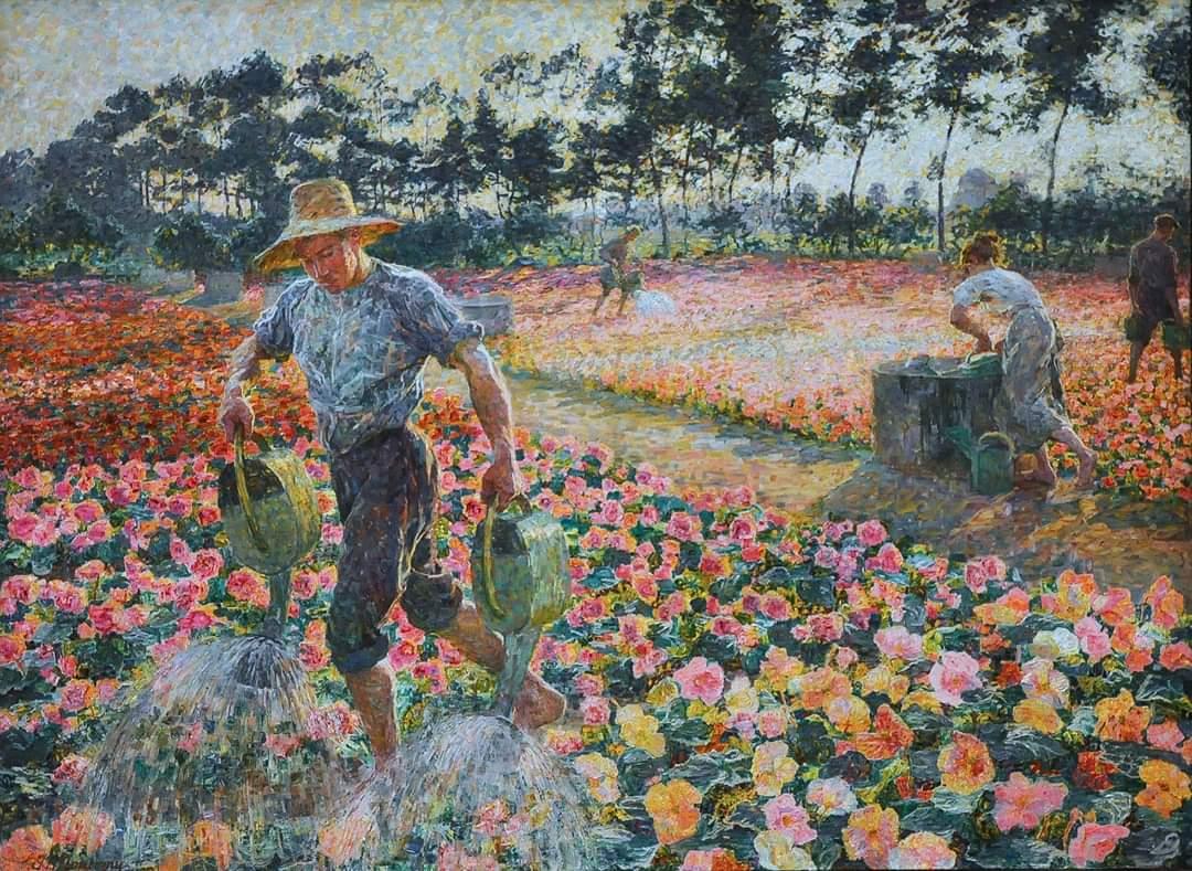 Jenny Montigny - The gardener 1913  #arthistory #arte #fineart #gallery #figurative #paintings #pintura #pittura #landscape #portrait #goodmorning #buongiorno #summer #july #field #flowers #gardener #farmhouse #countrylife #jennymontigny https://t.co/rfR6TCz2zf