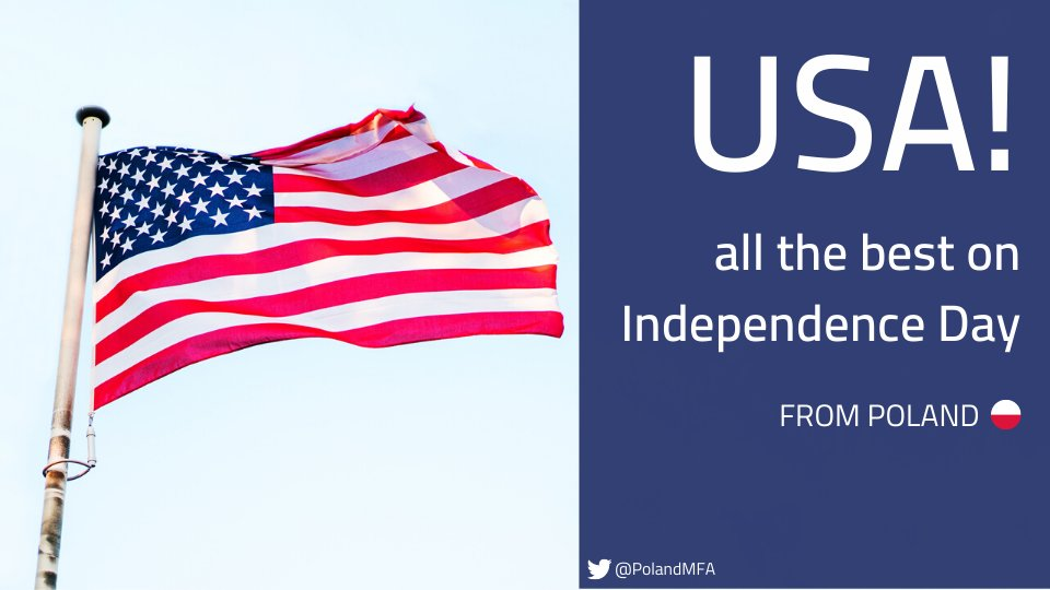 Dear Friends & Allies from the #USA , happy Independence Day - from #Poland!  #4thofJuly #IndependenceDay2020 #HappyIndependenceDaypic.twitter.com/7H7x0vUfQp