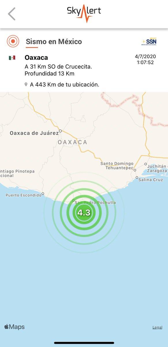 Sismo (réplica) magnitud 4.3 ubicado a 31 km al suroeste de Crucecita, Oaxaca.  Detectado por @RedSkyAlert con intensidad «leve» en epicentro. Imperceptible zona centro. https://t.co/FEsVVBdFk3