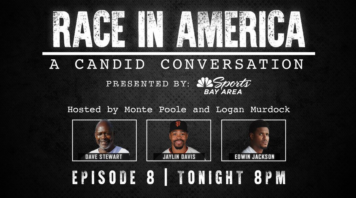 """Join us tonight for Episode 8 of """"Race in America: A Candid Conversation"""" featuring @Dsmoke34, @Jay_Dave23, and @EJ36. Tune in at 8 PM on NBC Sports Bay Area or stream here: bit.ly/3dDDebW"""
