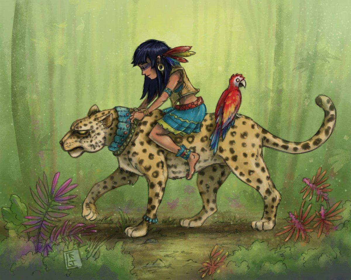 Jaguar Girl.  Theme: Mayan (somewhat) Pencil linework and colored in ClipStudioPaint #jaguar #mayangirlpic.twitter.com/CQAbN7cVnr