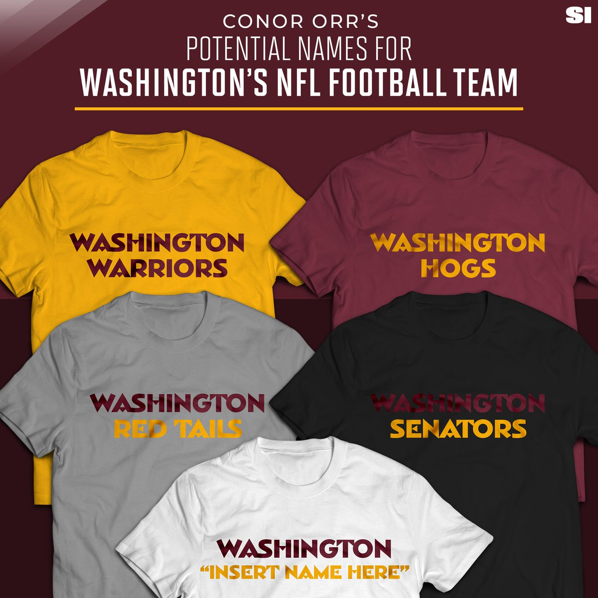 Its time Daniel Snyder moves on from the R nickname. @ConorOrr takes a look at some new names for Washington. What do you think the teams new name should be? 🤔 trib.al/l8YDIdy