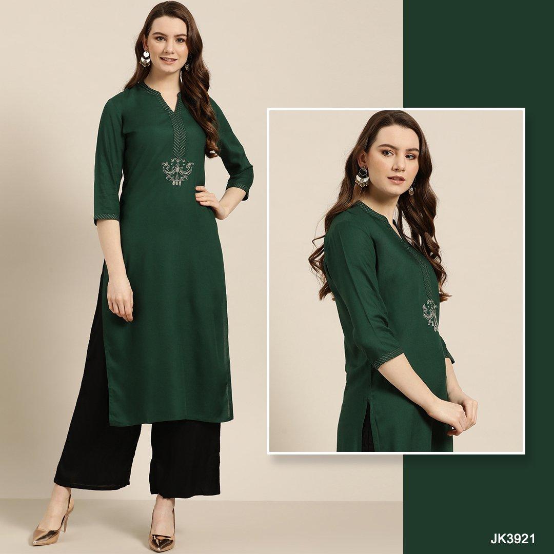 Feel the Saturday vibes in #JaipurKurti green rayon kurta. This is perfect for your office look.  #OfficeWear #WomenWear ##WomenClothing #OfficeWearStyle #OfficeWearforWomen #Quarantine #Ethnic #Fashion #FashionLover #OnlineShopping #OnlineStore #EthnicWear #EthnicStore #Kurtapic.twitter.com/wkHS61x338