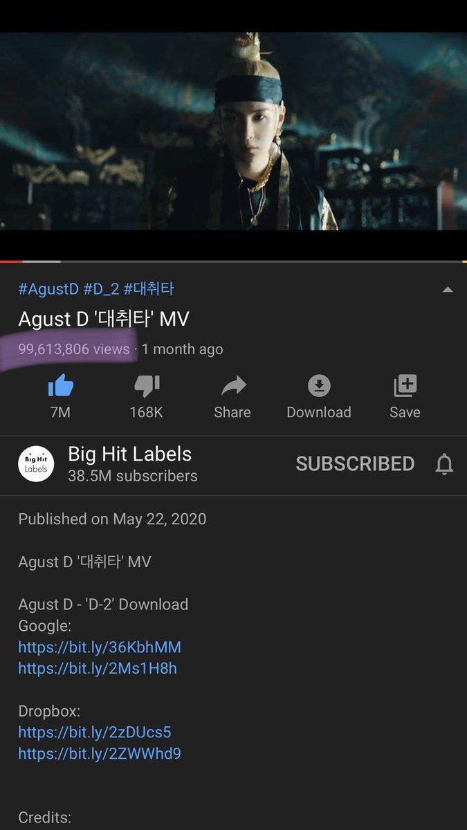 AHHH IT IS CLOSE TO 100M!! @BTS_twt #BTS #방탄소년단 #SUGA 🔗 youtu.be/qGjAWJ2zWWI
