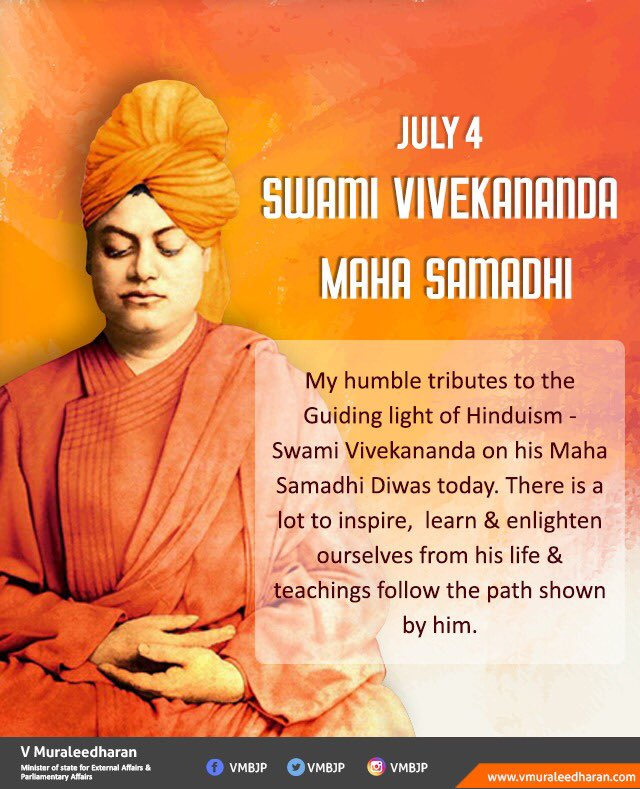 My humble tributes to the Guiding light of Hinduism - Swami Vivekananda on his Maha Samadhi Diwas today. There is a lot to inspire, learn & enlighten ourselves from his life & teachings follow the path shown by him. #SwamiVivekananda