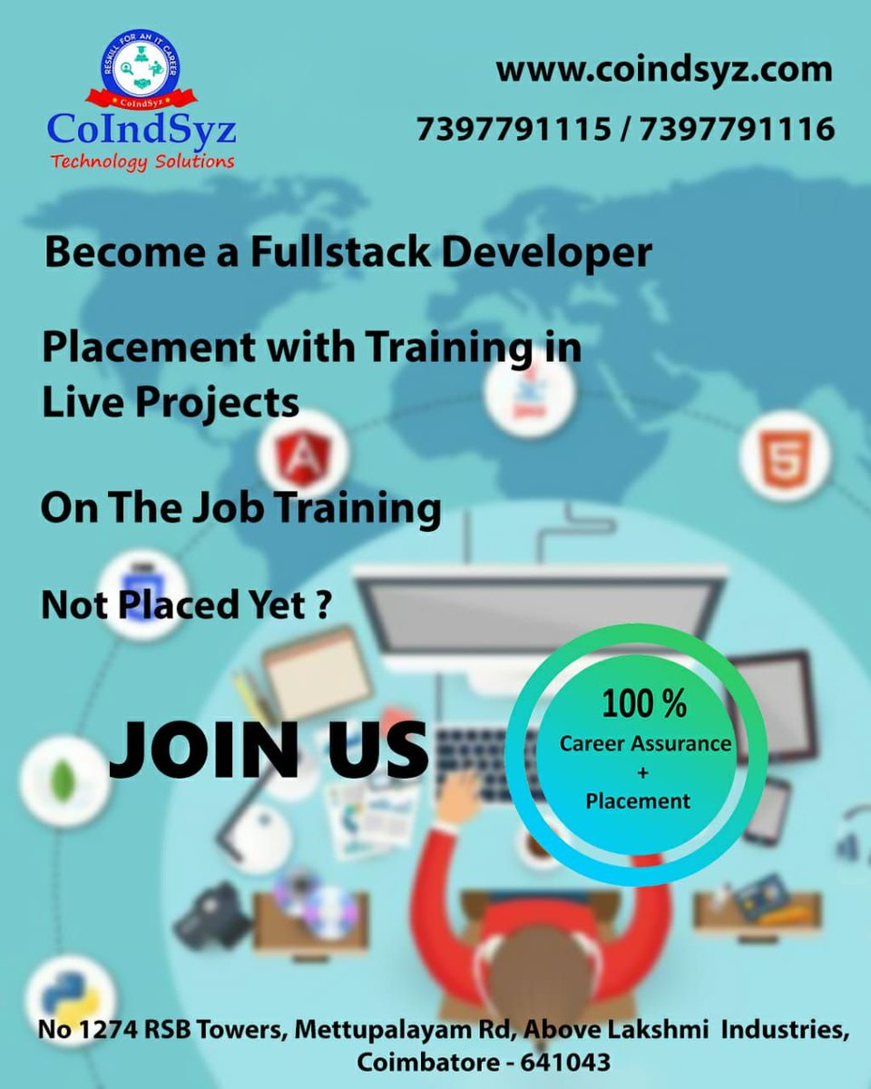 Need immediate joiner in Fullstack Developer in Java  Live projects Training by corporate Developers with placement  #fulllstackdevelopers #coindsyztechnologysolutions #coindsyz<br>http://pic.twitter.com/ut6iJDYGBE