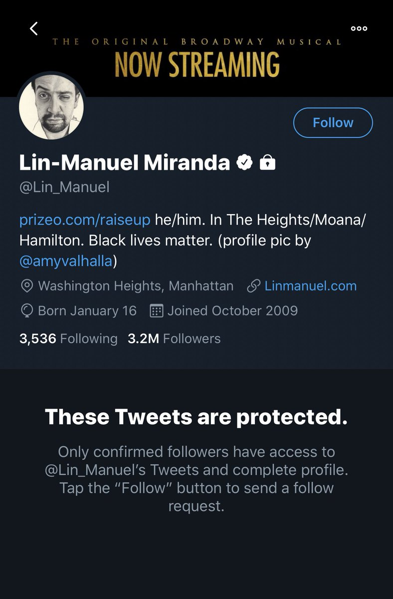 Lin-Manuel Miranda protecting his tweets with a 3.2M follower count