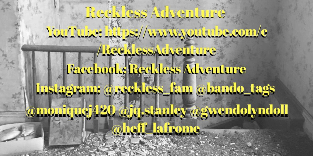 Hey gang, we are Reckless Adventure, an urban exploration and paranormal investigation collective. We are based out of southwestern Ontario.  #urbex #urbanexploration #abandoned #reckless_fam #bando_tagspic.twitter.com/sq487nYAGU