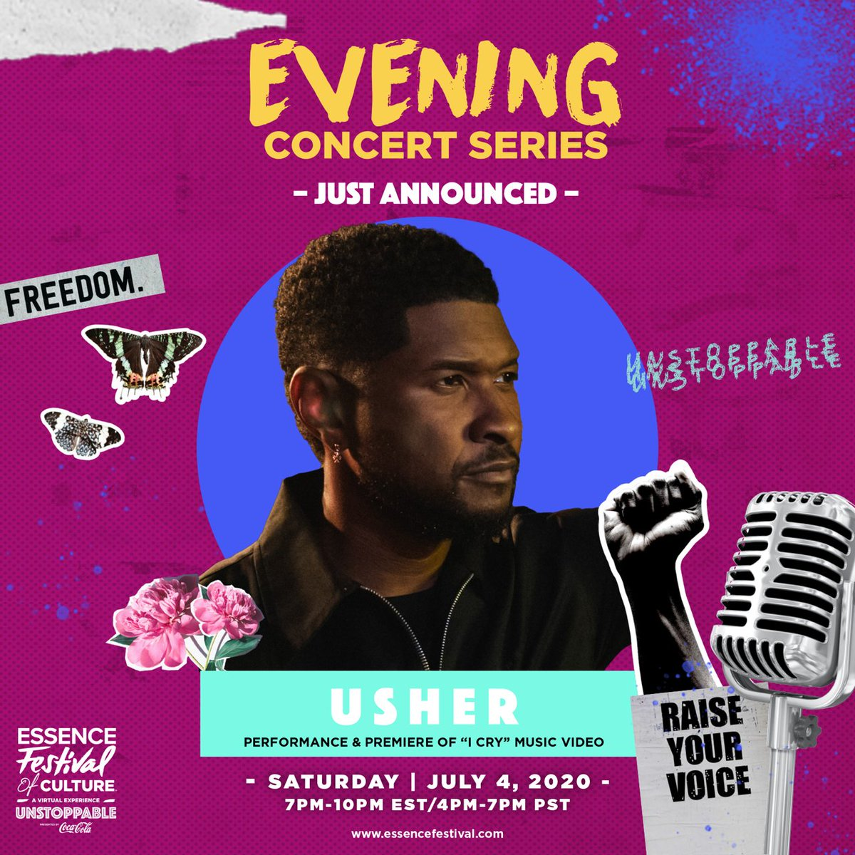"""JUST ANNOUNCED: Catch me during the unstoppable @essencefest virtual Evening concert series TOMORROW Saturday, July 4th starting at 7PM. I will be premiering my new video """"I Cry."""" Follow along @essencefest on socials and visit https://t.co/ngaJEtlYzt to see schedules and RSVP. https://t.co/u8fgidl6GR"""