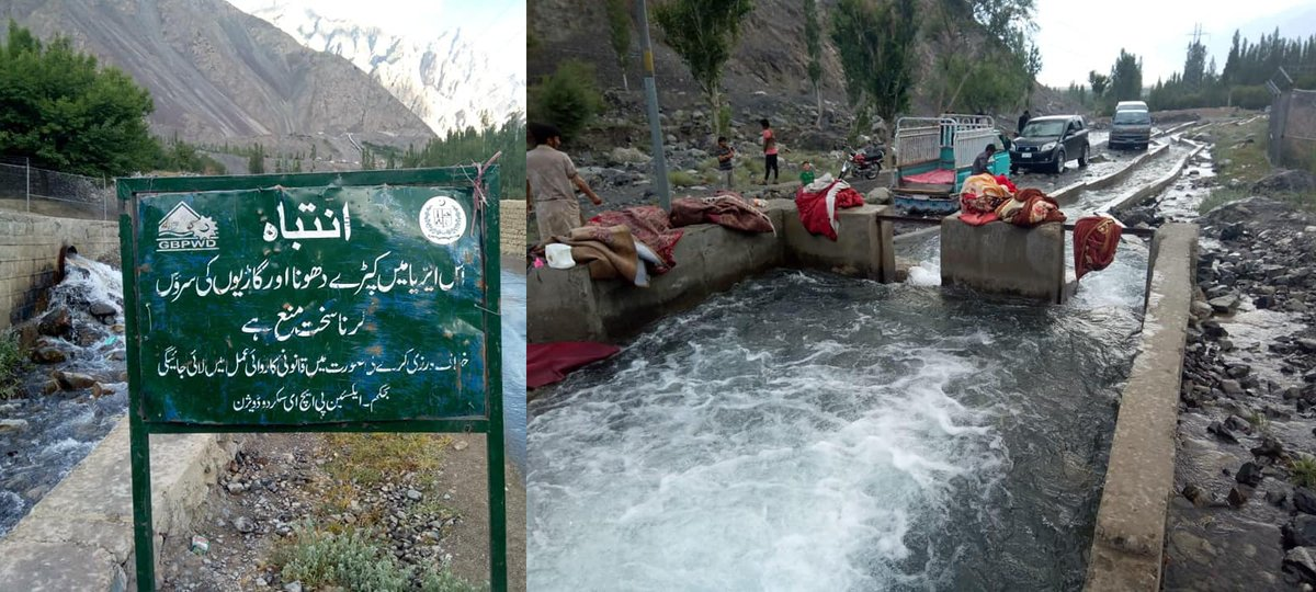 Blatant unabated, violation of environmental laws continues in #Skardu as vehicle owners wash their cars in a running stream. https://t.co/y78z4EtcfV
