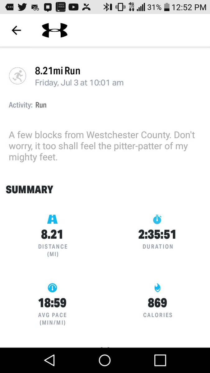Day 33. Eight-mile run followed by 20 push-ups. Felt so wiped out that my 20-minute nap turned into two hours. Thank goodness Saturdays are my leisure four-mile walk days. Changed my weekly weigh-in to Thursdays. Twenty-one pounds lighter. Making progress. #IRunTheBx  #Not62pic.twitter.com/Kw7KNDUUiE  by I Run The Bx