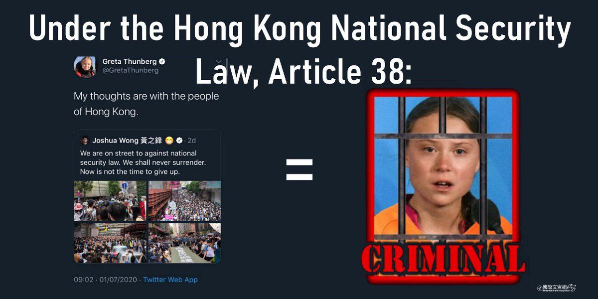 "Article 38 means anyone (whichever nationality) that speaks against the government can be arrested no matter where s/he is. Thanks Greta, and be careful! Now you're considered ""subversive"" by their stupid standards.  #standwithHK #ccp #nationalsecuritybill #StandWithHongKong https://t.co/VZS4wRjrOG"