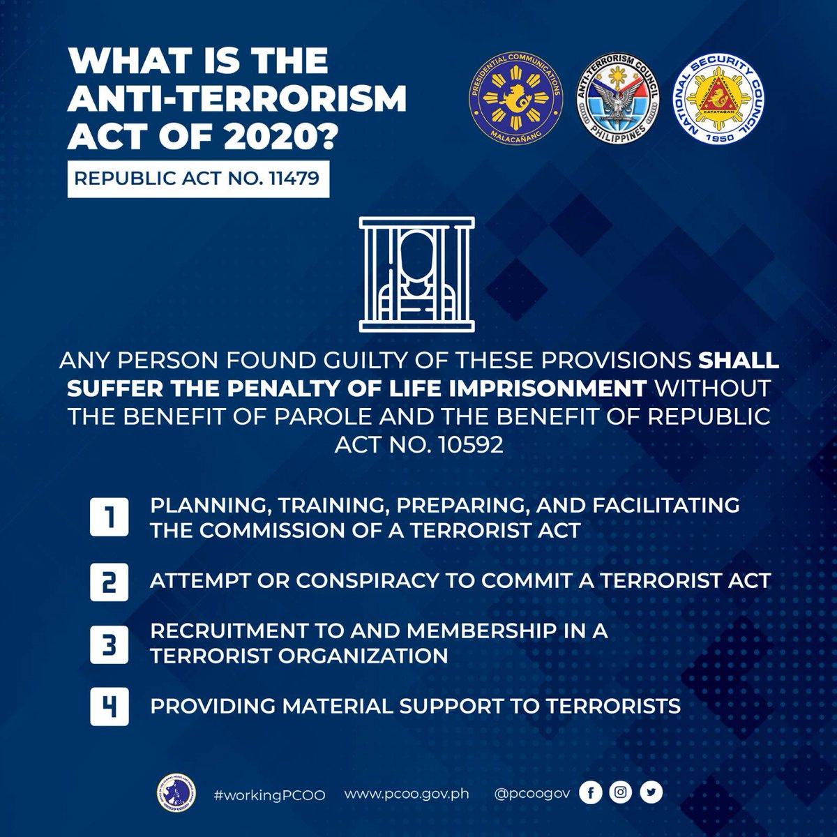 The said law was not crafted to curtail advocacy, dissent, and other forms of expression, but instead, was created to protect the nation from individuals who commit or intend to commit destructive and inhumane acts of terrorism. https://t.co/IegEnmj0od