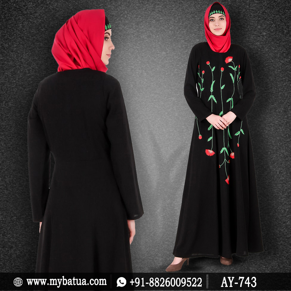 A daily wear abaya which can also be used for occasions. This abaya has got long floral & leaf embroidery with stems on front. It has multi-panel semi-circular bottom which gives it a good fall & beautiful look.   https://bit.ly/2WJnQD3   #dailywear #abaya #embroidereddressspic.twitter.com/qyVm3Z6GC0