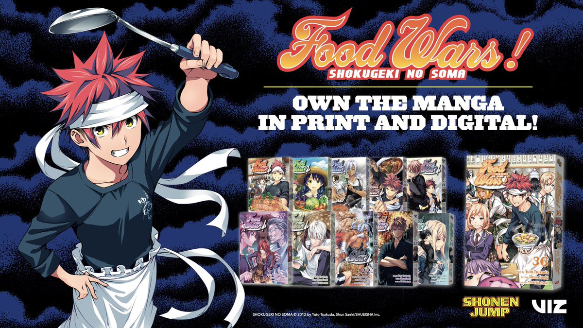 For comics, please ask your local book store or visit Viz.com ! You can also download Shonen Jump Manga & Comics to officially read it for free! #shokugeki_anime #wbj_ax20