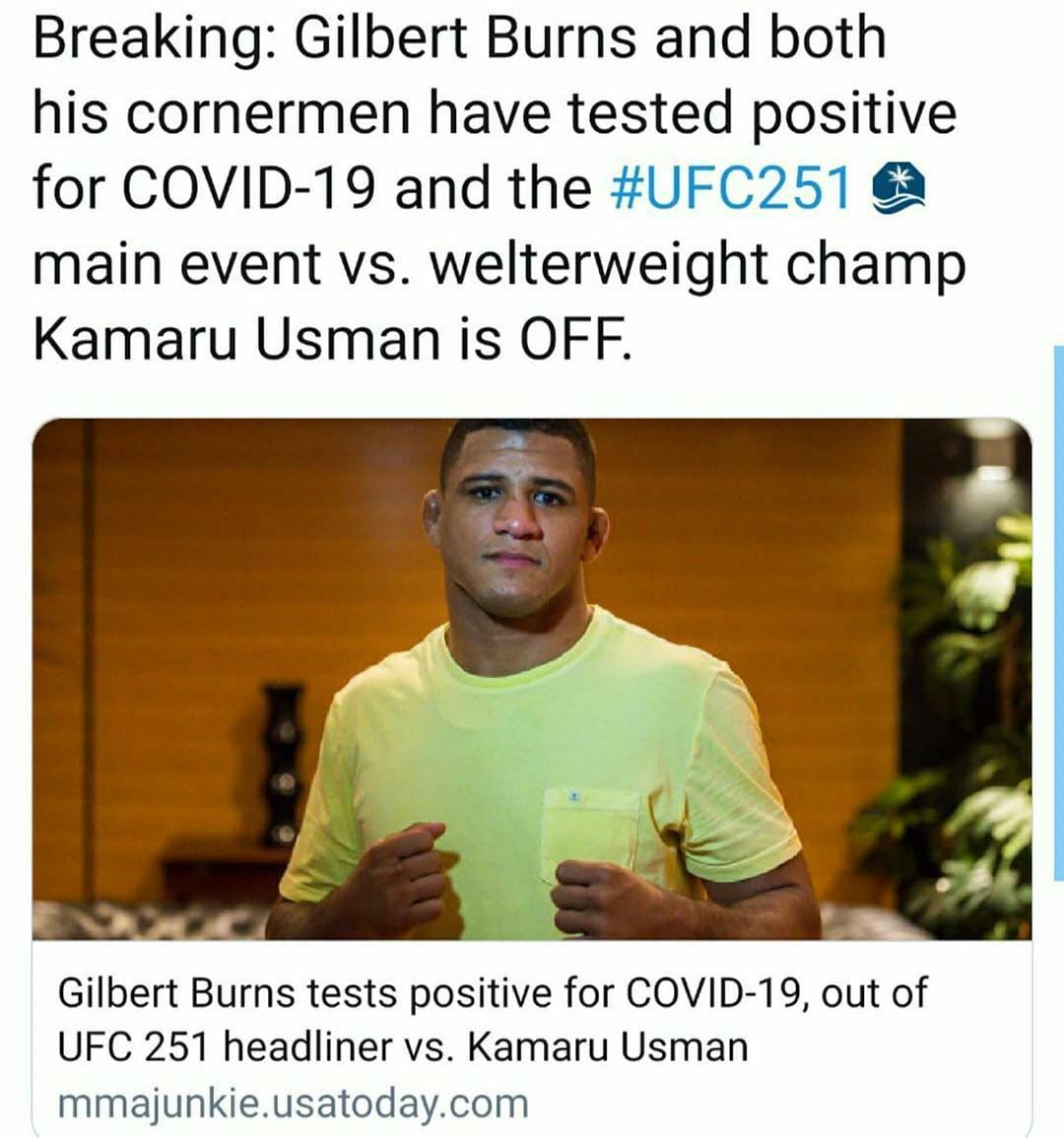 Damn... COVID can't let us have nothing... I was REALLY looking fwd to these teammates scrapping against each other. . . . #ufc251 #durinho #gilbertburns #ufc #bjjfortheculture https://t.co/bkNSvx7Y5c