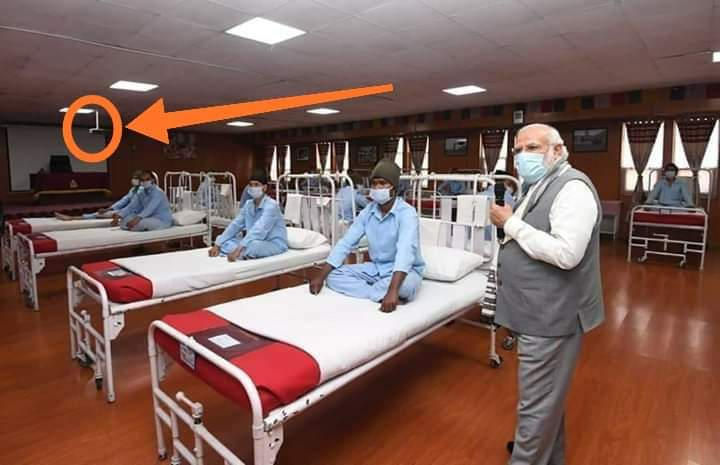 Who gave this stupid idea of converting conf room as a  ward for PMs visit.Produding projector stand, Nicelly rolled curtains , No medical equipment, No oxygen lines, no medicine cupboard, No dustbin, No drip stands all patients sitting in savdhan position made a laughing stock.. pic.twitter.com/5Vxa4yJYlg