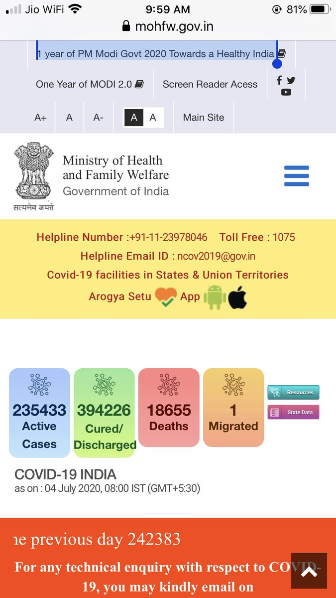 आज सबेरे ९ बजे का #COVID2019 का इंडिया डेटा।कुल मरीज़ ६,४८,३१५ जबकि कुल मृत्यु संख्या १८,६५५।कुल संख्या में २२,७७१ की बढ़ोतरी जबकि ठीक होनेवाले बढ़े१४,३३७ एवं४४२बढ़े मरनेवाले जब डेटा को जुलाई ३के डेटा से कम्पेर करे।पालन करे  #SocialDistancing #StayHomeStaySafe #IndiaFightsCorona https://t.co/MHMqJo9Z1g