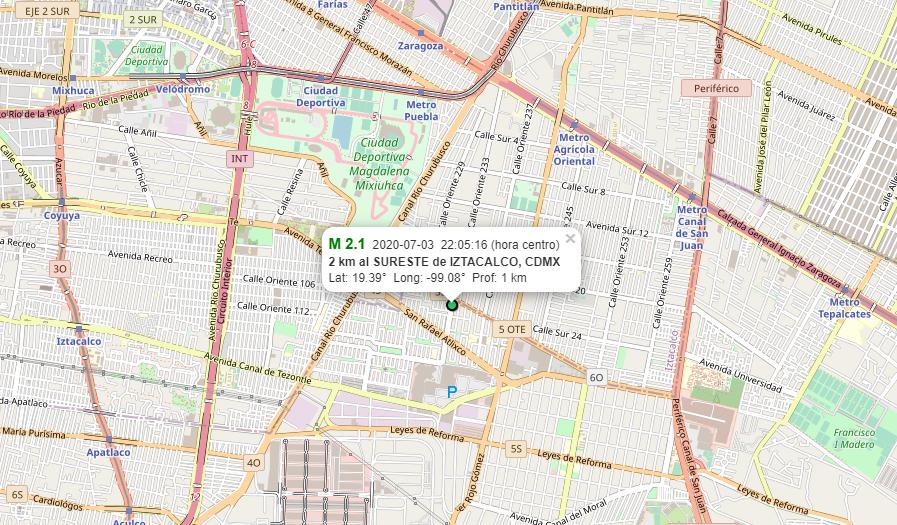 SSN reporta sismo de magnitud 2.1 a las 22:05 h con epicentro cercano a Ciudad Deportiva en Iztacalco, CDMX. https://t.co/qR53ZXFLur