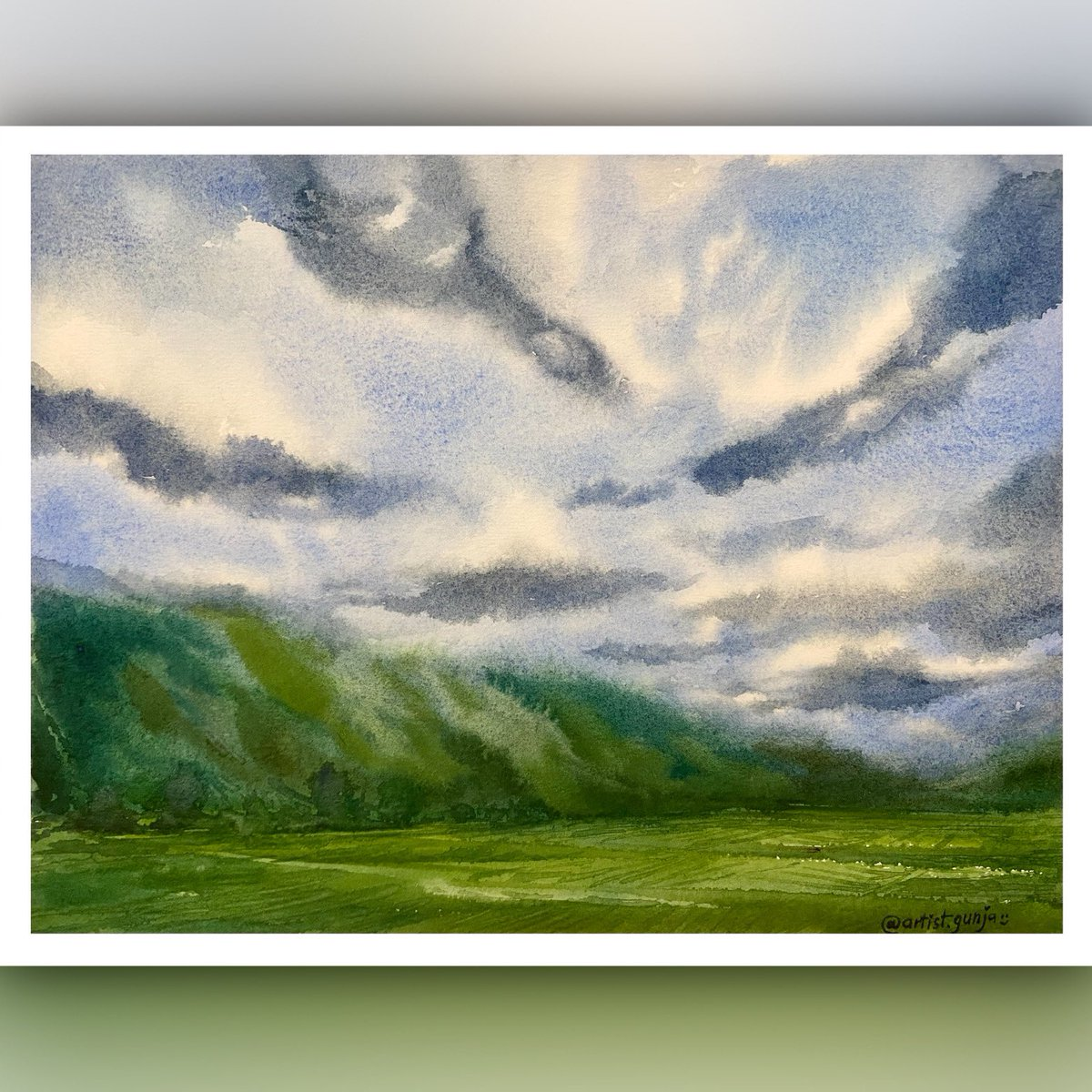 I so much wanted to #paint the #cloudy #day today, it's so #warm weather here 😎and I miss the #clouds 🤓 hope everyone is enjoying this #summer #weekend ...I used limited color pallet for this watercolor landscape, quite a good experience! 😊 checkout process video in thread... https://t.co/GxbxcErlfK