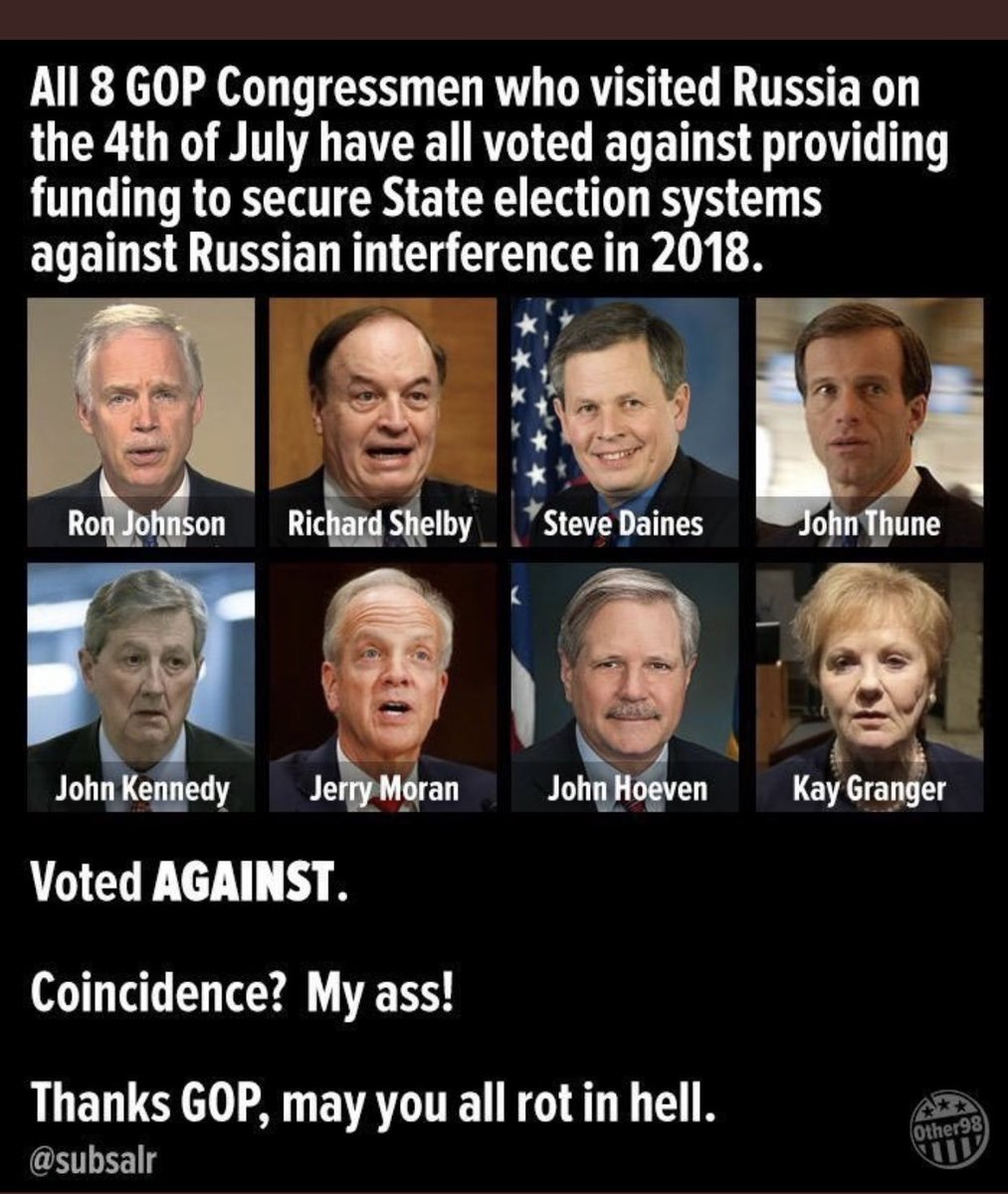Hey, I wonder how many GOP Leaders spent this 4th of July in Russia? Anyone know? Asking for a friend. #PutinsGOP #TrumpKnewAboutRussianBounty #TrumpPenseSpreadCovid19 twitter.com/discoal_66/sta…