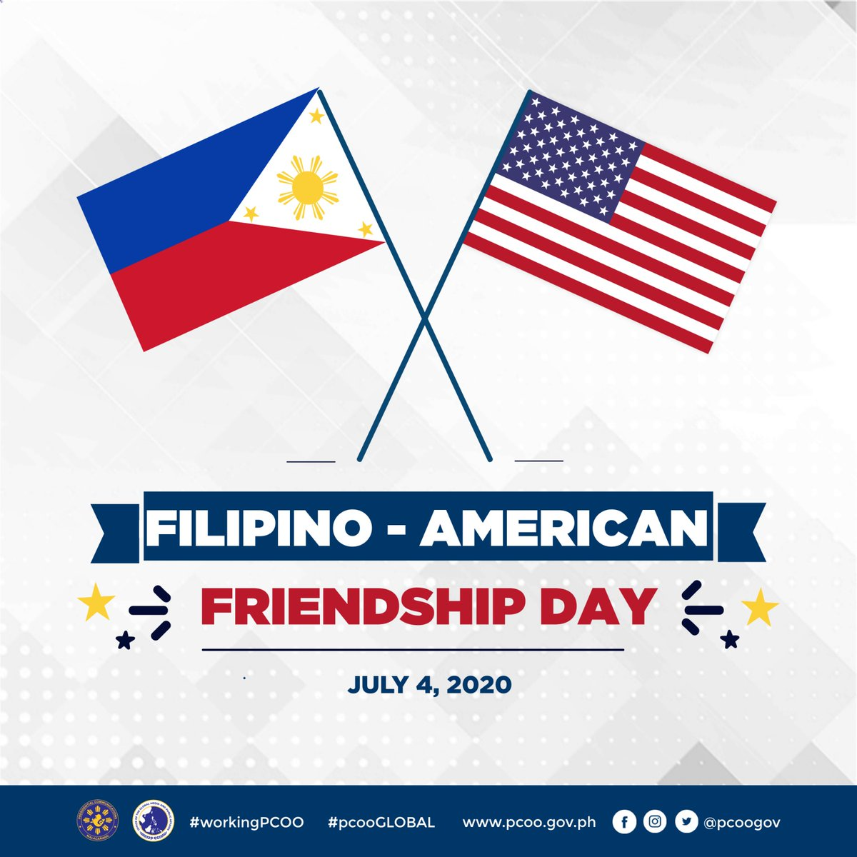 Today, July 4, is the Philippine-American Friendship Day, by virtue of Proclamation No. 811, s. in 1996, and also commemorates the formal recognition of Philippine independence.   #workingPCOO #pcooGLOBAL #WeHealAsOne https://t.co/hCJWt5YdF2