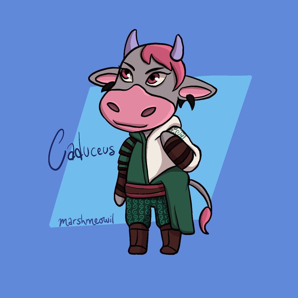 Caduceus the Cow Critical Role characters as Animal Crossing characters series. #procreate #criticalrole #criticalrolefanart #criticalrolecaduceus #crcaduceus #animalcrossing #animalcrossingnewhorizons #acnh #animalcrossingfanart #dnd #dungeonsanddragonsart #dungeonsanddragons https://t.co/hzA6M8qFA5