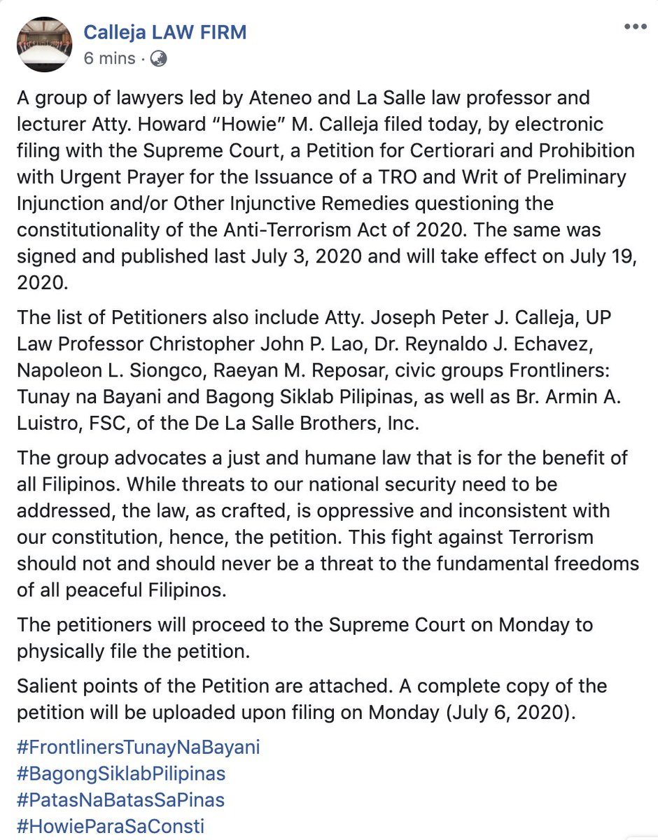 BREAKING: A group of lawyers led by Atty. Howard Calleja, the De La Salle brothers led by Brother Armin Luistro, and civic groups have filed the 1st petition before the Supreme Court questioning the Anti-Terrorism Act. They ask for TRO to stop its implementation. | @mikenavallo https://t.co/6QsGhLSPgk