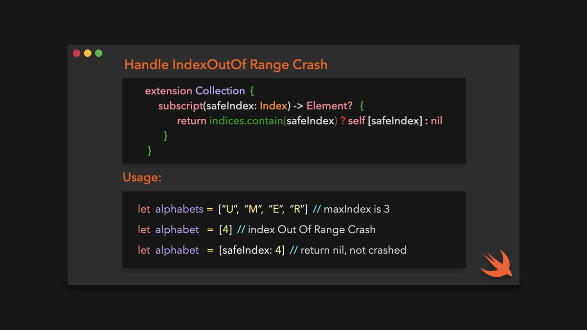 How you can handle IndexOutOfRange Crash... Here is an handy extension #iOSDev #SwiftLang <br>http://pic.twitter.com/ih7cOZkFIr