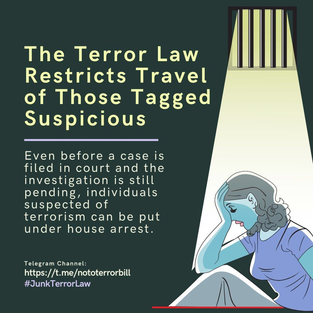 #JUNKTERRORLAW  Here are some quick explainers on the provisions of the dangerous and unconstitutional Terror Law.   We urge you to go through this and share on your social media channels so that others may know why we must get the Supreme Court to reject this this law.   (1/3) <br>http://pic.twitter.com/aGO4EN6Elz
