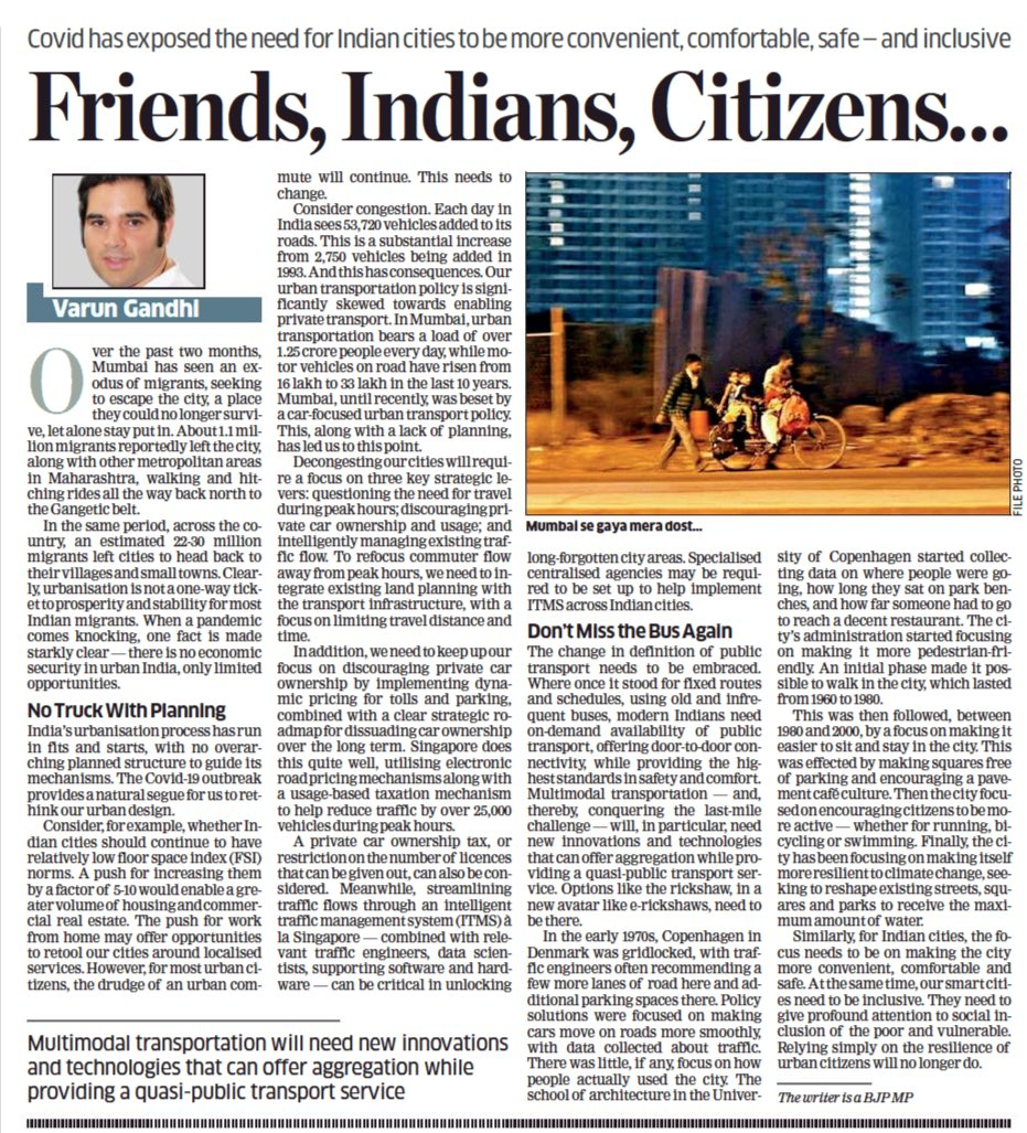 Hon'ble PM Shri @narendramodi ji spoke to our brave troops about the world shifting away from expansionism to a focus on development, yesterday. COVID-19 provides a natural segue for us to rethink urban development. My article in ET on decongesting Indian cities. https://t.co/NIwqaGFvKH