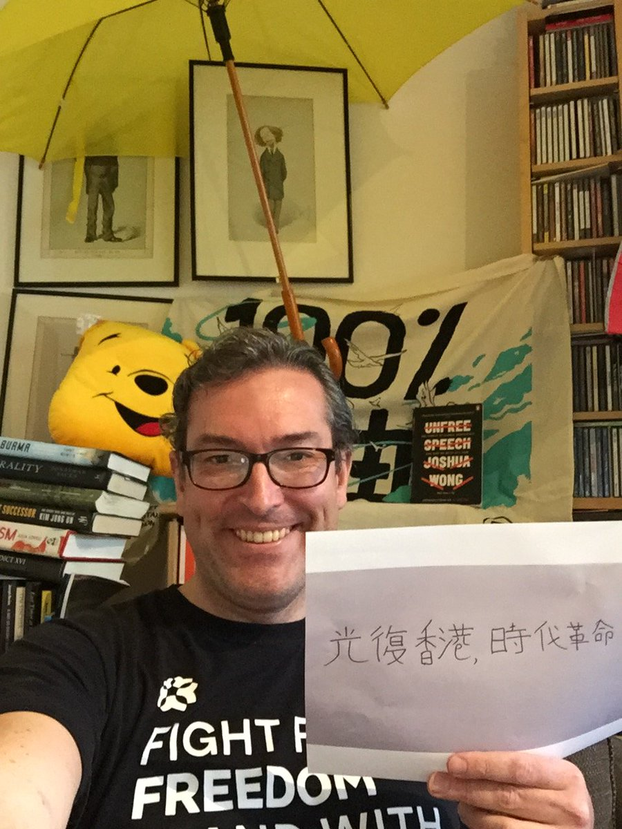 London crime scene under #Article38 of #HongKong's #NationalSecurityLaw   Suspected acts  - Illegal slogan in hand (written by suspect) - T-shirt (worn by suspect) - Political banner (on suspect's wall) - Book (on bookshelf) - Yellow umbrella - Winnie the Pooh  #StandwithHK https://t.co/ZeLIrMujEU