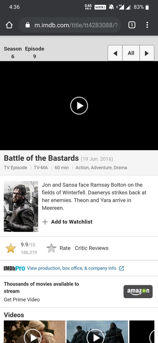 #GameOfThrones My All Time Favourite Episode S6 E9 Battle of the Bastards 9.9 Rating 186k votes   Finale The Iron Throne 4.1 223k votes  <br>http://pic.twitter.com/0DAvKrdZZY