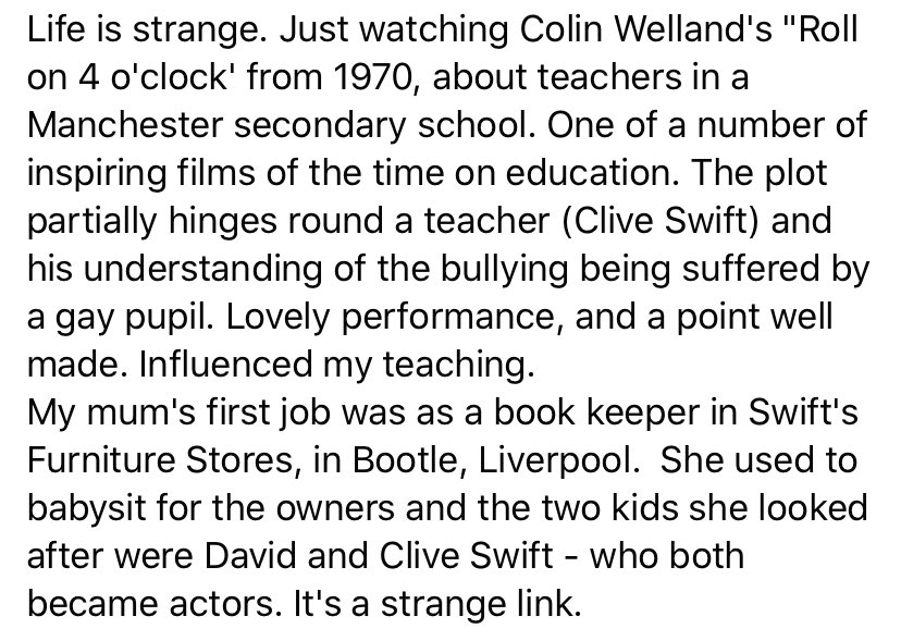 """The strange link between Colin Welland's """"Roll on 4 o'clock"""" and my career in education."""