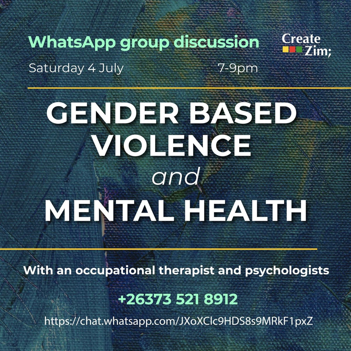 Tonight I will be hosting a WhatsApp group discussion with @CreateZim on GBV towards women & Sexual Assault & how this affects our Mental Health as Women. There'll be a therapist and psychologist present as well.   I urge both men and women to join the discussion🙏🏾 https://t.co/0P6Th3ZPMZ
