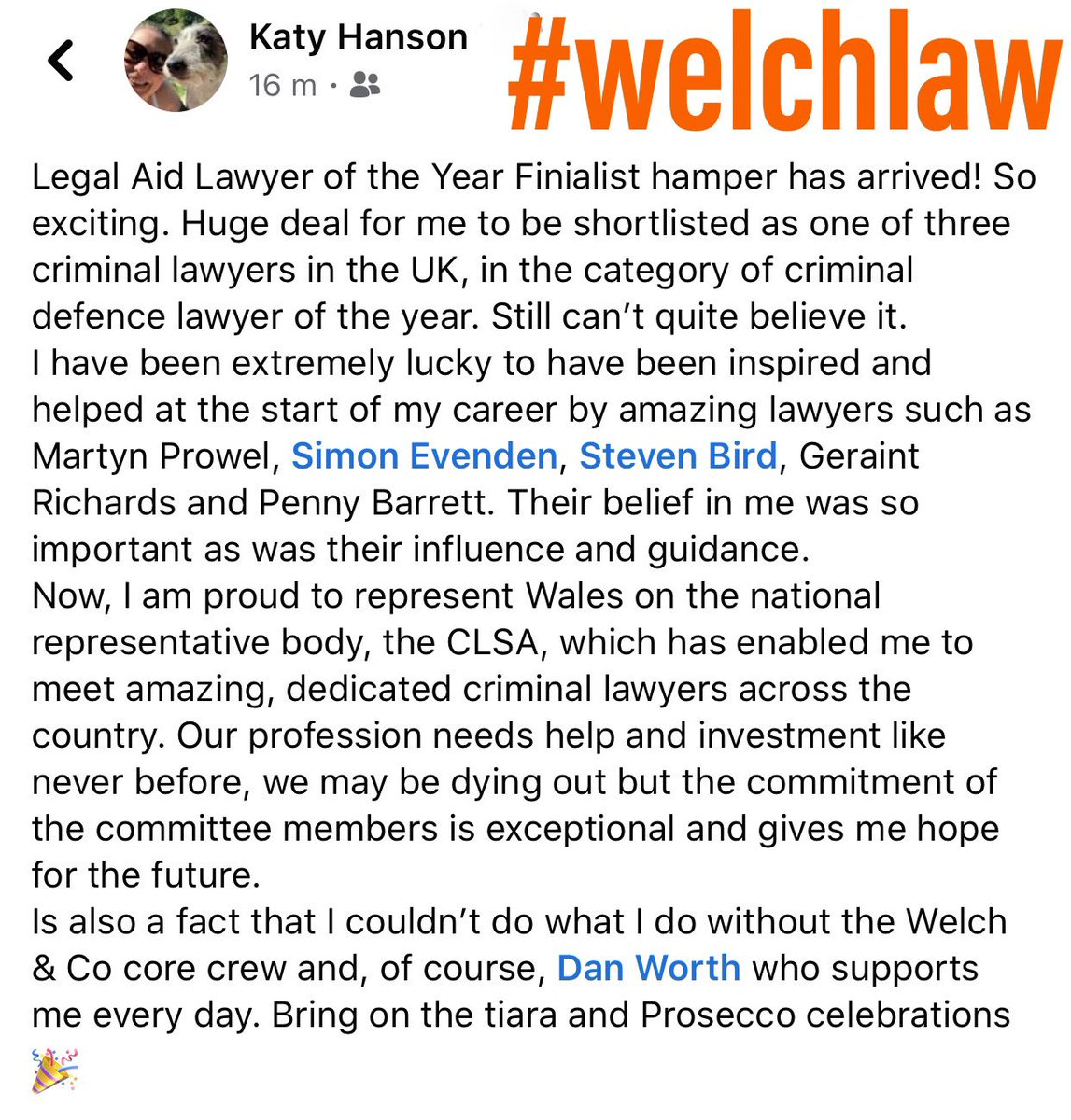 Woohoo! So excited, 3 more sleeps #LALY20 Some words from our @kcehanson The whole #welchlaw Team are very proud of you and your achievements.... & to all our Legal Aid Lawyer colleagues, you're #justiceheroes all! 🙌🏻🙌🏻 https://t.co/AEqMSrlUSm