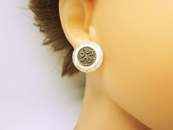 Earring Studs Tiny Boton Cross Earring Studs Womens Cross #Earrings Marble Cross Earring Studs #Beaded Earrings #JEWELRY STUDS #fashion #handmade