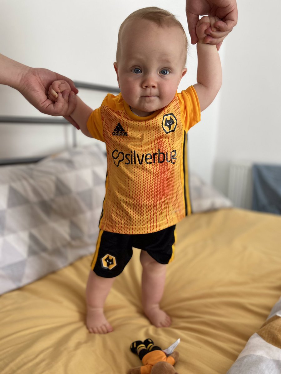 Osian all ready for the @Wolves game today! Come on Wanderers! 🐺