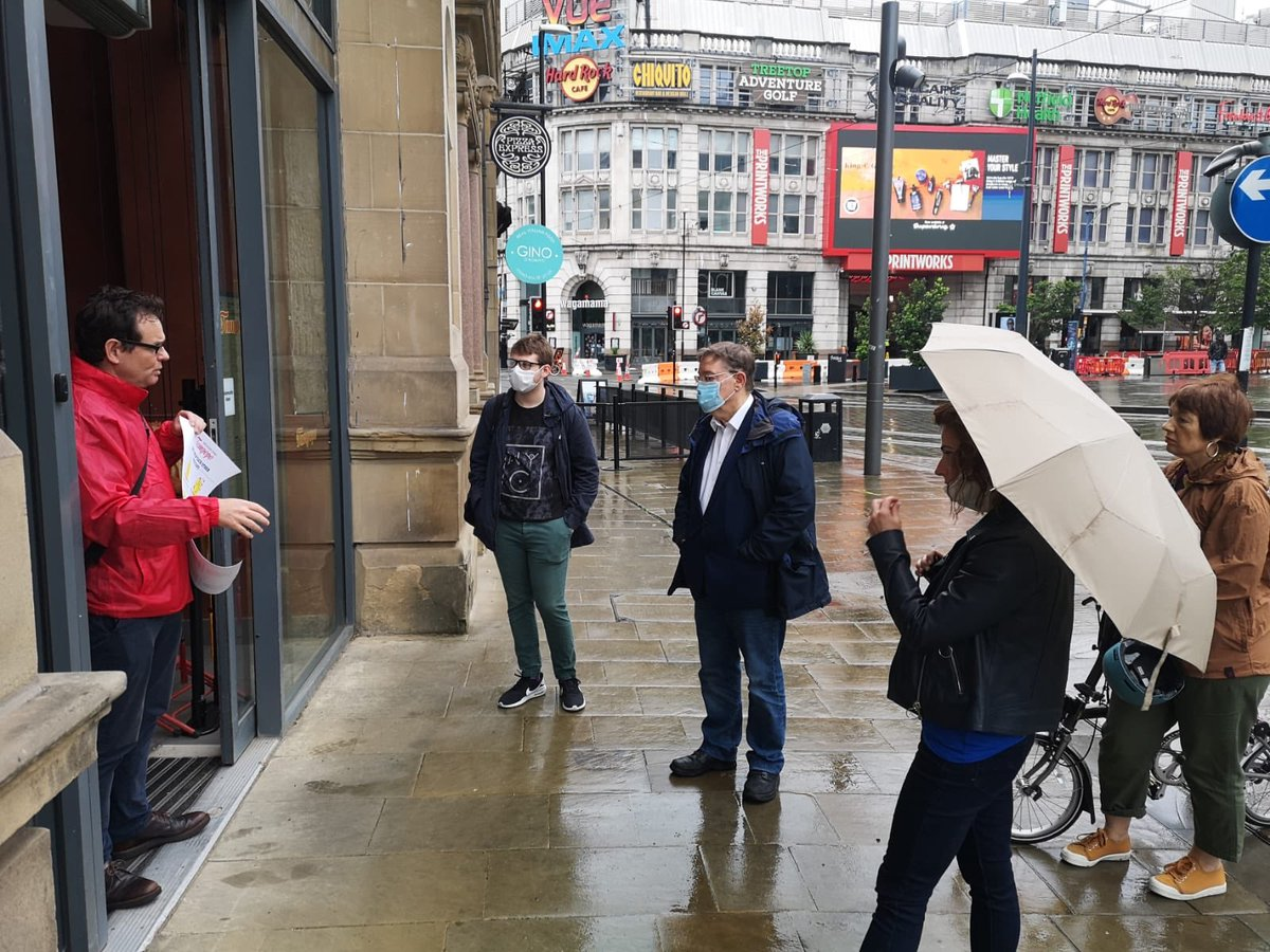 Visiting city centre bars, restaurants and pubs today to talk about how they're reopening safely and how they've found working with @ManCityCouncil to get ready for today with @AngelikiStg @patkarney and @JonConnorLyons